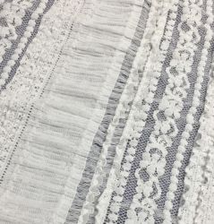 3D New Nylon Lace Fabric Stretch Striped Seersucker Knitted Lace 직물