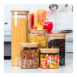 Glazen container met hoog borosilicaatgehalte vierkante glazen potten Voedingsopslag set Glazen containers met bamboe deksels