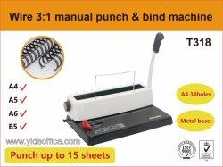 السلك 3: 1 لكمة وربط كتاب آلة حز السلك المزدوج كتاب حز الحديد الصلب (T318)