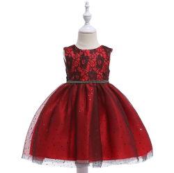 Les enfants de la robe de style hot girl Princess Sequined gaze fleur fille robe de performances