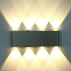 Современные прямоугольник LED 8W Настенные модели Meganes Scenic Светильник рассеянного света из алюминия высокой мощности 8 светодиод вверх вниз настенный светильник (WH-RC-05)
