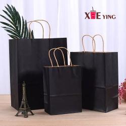 Hersteller kundenspezifischer Firmenzeichen-Entwurfs-zurückführbarer Verpackungs-Schwarz-Farben-Packpapier-Beutel mit verdrehtem Griff