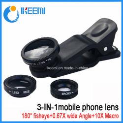 Lente de cámara del teléfono móvil 3 en 1 lente lentes de zoom para teléfono móvil con lente ojo de pez objetivo gran angular ++Lente macro