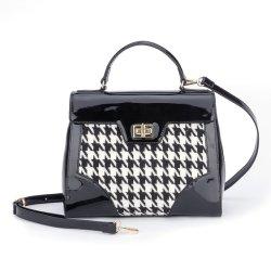 Meilleure vente Design élégant en cuir de brevet d'impression de tissu Mesdames sac à main