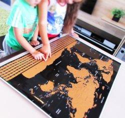 Gravação personalizada aceitável raspe Mundial Mapa de viagem internacional de Poster arranhar o World Travel Edition raspar Mapa