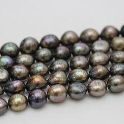 12-13mm en haut de la qualité Collier de perles d'eau douce Baroque noir (E190036)