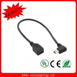 De Kabel van de Uitbreiding van Minii USB van de Rechte hoek met Mannetje aan Wijfje