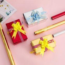 贅沢な方法金属ローズの金のフィルムのクリスマスの花の包むギフト 梱包用紙