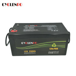 Baixa Taxa de Descarga LiFePO4 12V 250 Ah Lipo Bateria de lítio para RV Solar Marine Boat
