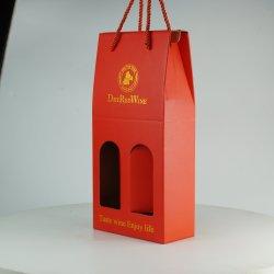Kraft rojo vino el papel de embalaje caja de cartón corrugado con ventana para 2 botellas