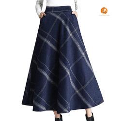 샹얀 여성용 탄력성 웨이스트 울 격자무늬 A-라인 평탄한 겨울 가슴 치마