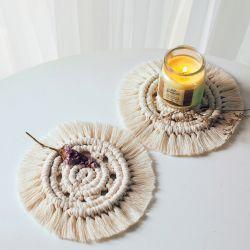 북유럽 컵 패드 미끄럼 방지 절연 매트 순수 자체 제작 면 Kitche의 경우 Braid Macframe tablecloth Tablemat