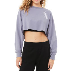 Womenのための新しいDesign Sexy Gym Exercise Long Sleeve Crop Top Shirt