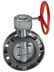 Plástico de alta calidad de suministro de agua de la válvula de Mariposa Tipo Wafer de PVC sin válvula de mariposa del actuador neumático de UPVC Engranaje helicoidal de la válvula de mariposa DIN ANSI norma JIS