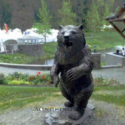 Park TierOnament lebensgrosse schwarzer Bären-Bronzestatuen