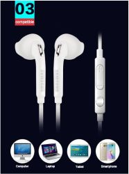 2019 fone de ouvido de 3,5 mm do fone de ouvido e microfone para controlo de volume remoto Samsung Galaxy S7 S6 Edge S5 S4 Nota 5 4 3 almofadas dos auscultadores Sistema mãos livres
