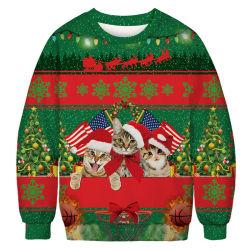 도매 대원 목 스웨트 셔츠 폴리에스테 3D 인쇄 크리스마스 승화 디자인 스웨트 셔츠 남자 형식 디자인 스웨트 셔츠