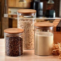 Comida de borossilicato alta Vidro Canister Cookies Copo com tampa de bambu de armazenamento de papinha de vidro
