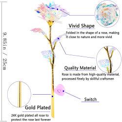 المصنع أوكازيون مباشر كريستال روز صناعي نجوم السماء 24 الذهب مطلي باللون الأبيض المجرة Enchanted Rose LED
