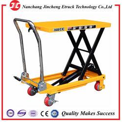 ヘビーデューティ軽量マニュアル移動式油圧静止電気貨物 手式シザーリフトテーブルシザーリフト