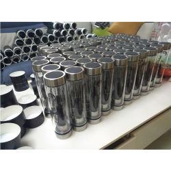 De natuurlijke Fles van het Water van de Halfedelsteen van de Muur van het Kristal van 100% Dubbele Glas Gegoten met Diverse Kristallen
