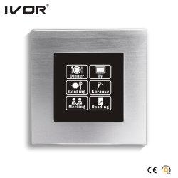 Panneau tactile de l'interrupteur d'éclairage de mise en réseau avec la commande de Scène Cadre en alliage en aluminium (HR1000-al-S-CAN)