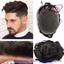 Cheveux humains plein de remplacement de la dentelle et PU Toupee pour les hommes