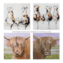 Pintura al óleo moderna de la mano de animales abstracto lienzo