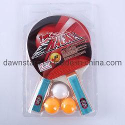 ポプラの木製の安い価格の卓球ラケットは多彩なHaddleとセットした