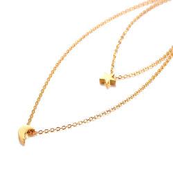 Frauen Stern und Mond-Halsketten-Gold überzogene multi überlagerte hängende Kette