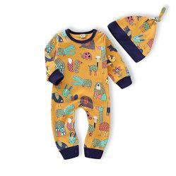 Conjuntos de roupa para bebê recém-nascido meninas meninos Imprimir Romper Bodysuit Animal Bombeiro roupas de inverno