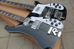 Лучшая цена Rickenback индивидуальные магазин черный двойной горловины Ricken 4080 Jetglo электрическая бас-гитара и оригинальные детали реальные фото