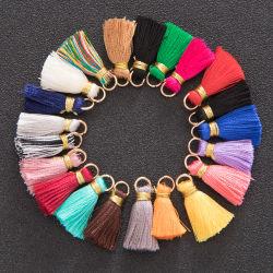 ループリングの試供品が付いている標準的で多彩な小型装飾的な絹のふさの2cmは提供した