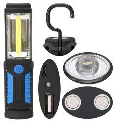 مصباح وامض LED وامض، طاقة تدوير الخطاف الدوار القابل لإعادة الشحن للحامل المعلق مصباح العمل المغناطيسي للمصرف