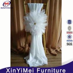 Fantasia elegante Chiffon Organza branco flor caixilhos Cadeira Cadeira de casamento barata abrange
