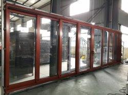 باب جيب منزلق مصنوع من الألومنيوم الخشبي بالألوان للشرفة والشرفة