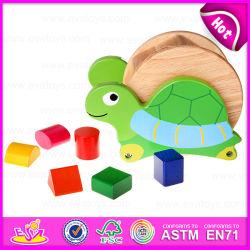 Bloco de formato de madeira Tartaruga móveis de madeira de brinquedo Cube, blocos de forma educativa correspondência entre o bloco de madeira brinquedo W12D032