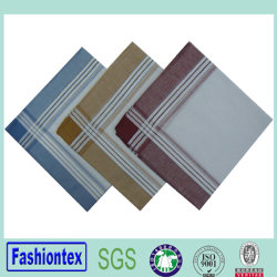 Mann-weißes Brokat-Taschentuch-Streifen-Rand-Taschentuch