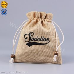 Sinicline Logotipo personalizado impresso Juta Saco para roupa suja de cânhamo para embalagens