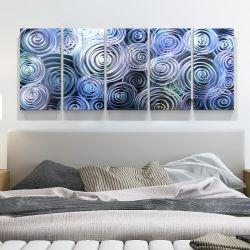 Синий 3D завихрения абстрактные металлические картины маслом внутреннюю современного искусства на стене декор 100% ручной работы