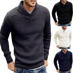 L'inverno di autunno ispessisce il maglione casuale solido degli uomini del pullover del collare di Turndown