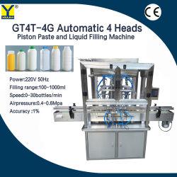 Gt4T-4G Type de piston Sanitizer bouteille Automatique Machine de remplissage pour la désinfection des mains Gel