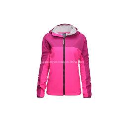 レディースは通気性の2つの調子のフード付きの羊毛によって並べられるSoftshellのジャケットを防水する