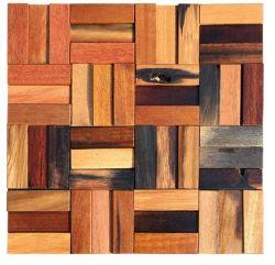 Efecto 3D decorativos sólidos de madera tallada mosaico antiguo buque Panel de pared 300x300 azulejos
