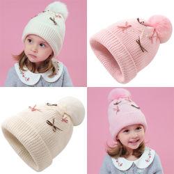 Logotipo personalizado Kids invierno tejido cachemir Beanie sombreros con POM POM