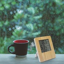 品質保証ナチュラルバンブーデジタルクロック室内温度湿度温度計