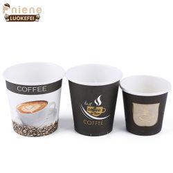 Оптовая торговля одноразовые экологически безопасные один двойной колебания стены Логотип печать бумага кофе чашки с крышками