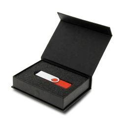 Impressão personalizada de luxo dobrar papel preto balde de caixa para a unidade Flash USB de Acondicionamento