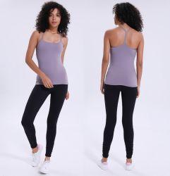 Tessuto In Nylon Super Allungabile Confortevole Da Donna Yoga/Running Gym Tops Con Imbottitura