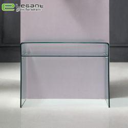 De duidelijke Gebogen Lijst van de Console van het Glas met de Aangemaakte Plank van het Glas